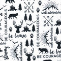 Nursery Flannel Fabric-Black Words, Be Brave & Map on White