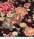 Asian Inspired Cotton Fabric 44\u0022-Large Red Floral Metallic