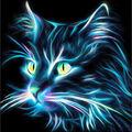 RTO Diamond Mosaic Embroidery Kit 25X25cm-Neon Cat