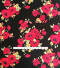 Stretch Crepe Knit Fabric-Pink Poppies
