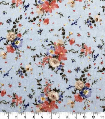 Silky Crinkle Rayon Fabric-Light Blue Peach Pastel Petals