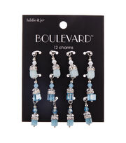hildie & jo Boulevard 12 pk Glass & Iron Sky Dangle Charms-Blue, , hi-res