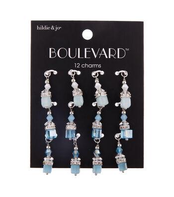 hildie & jo Boulevard 12 pk Glass & Iron Sky Dangle Charms-Blue