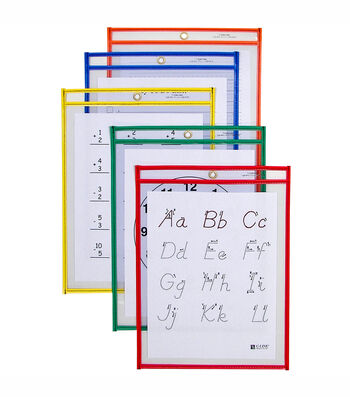 C-Line Reusable Dry Erase Pockets Assorted Primary Colors 5 Per Package