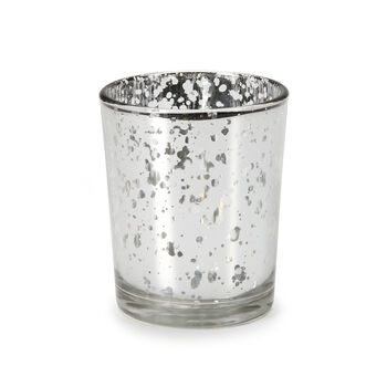 David Tutera Glass Votive w/Silver Spot Plating