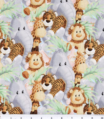 Jungle Babies Nursery Cotton Fabric -Animals