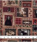 Novelty Cotton Fabric-Moose Lodge Scene