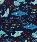 Anti-Pill Plush Fleece Fabric-Sharks & Minnows