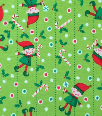 "Doodles Christmas Interlock Cotton Fabric 58""-Holiday Elf"