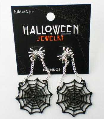 hildie & jo Halloween Spider Web Earrings-Silver