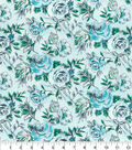 Keepsake Calico Cotton Fabric-Teal Sketched Floral