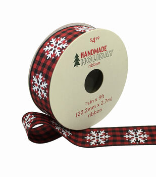 Handmade Holiday Ribbon 7/8''x9'-Snowflakes on Red & Black Checks