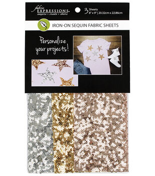 Fabric Expressions 3 pk 8''x9'' Iron-on Sequin Fabric Sheets