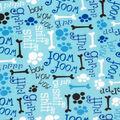 Super Snuggle Flannel Fabric-Woof, Grr, Ruff & Bones on Blue
