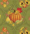 Harvest Cotton Fabric 44\u0022-Pumpkin Damask
