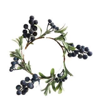 Handmade Holiday Christmas 12'' Leaf & Blue Berry Wreath