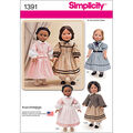 Simplicity Pattern 1391OS One Size -Crafts Doll Clothes