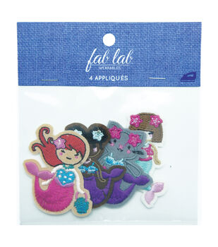 Fab Lab Wearables 4 pk Assorted Mermaid Iron-on Appliques