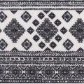 Anti-Pill Plush Fleece Fabric-Aztec Stripe on White