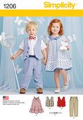 Simplicity Pattern 1206A Toddlers\u0027 Dress & Pants-Size 1/2-1-2-3