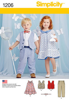 Simplicity Pattern 1206A Toddlers' Dress & Pants-Size 1/2-1-2-3