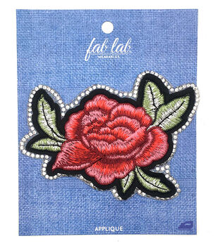 Fab Lab Wearables Rose with Glitter Edge Iron-on Applique-Pink