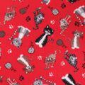 Blizzard Fleece Fabric-Cats on Red