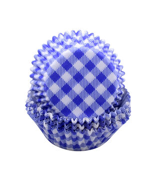 Land of the Free Baking Patriotic 75 pk Cupcake Liners-Blue Gingham