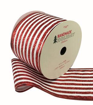 Handmade Holiday Christmas Ribbon 4''x40'-Red Glitter & White Stripes