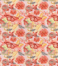 Snuggle Flannel Fabric-Coral Watercolor Butterfly