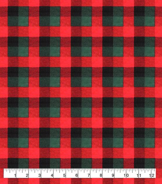 Red & Green Buffalo Check Super Snuggle Flannel Fabric, , hi-res, image 1