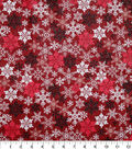 Christmas Cotton Fabric 43\u0022-Stamped Flakes Red Glitter