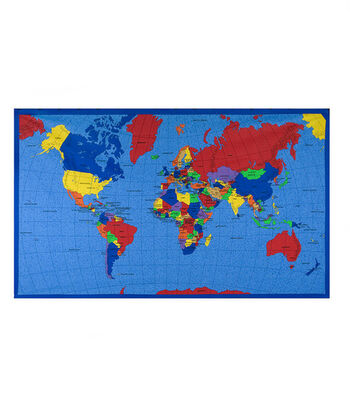 Novelty Cotton Fabric-World Map Panel