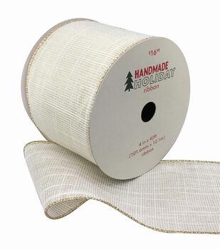 Handmade Holiday Christmas Texture Ribbon 4''x40'-Gold & White