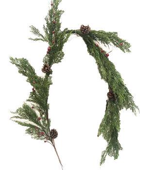 Handmade Holiday Christmas Cypress, Pinecone & Red Berry Garland
