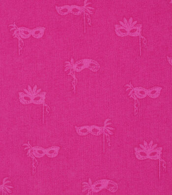 Mardi Gras Cotton Fabric-Masks Pink