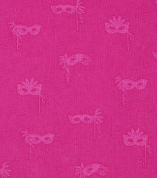 Mardi Gras Cotton Fabric-Masks Pink