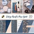 Park Lane Premium Stack Printed & Kraft Cardstock-Indigo Kraft & Rose Gold