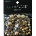 hildie & jo Boulevard 60 pk Mixed Glass Beads-White & Gold