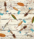 Novelty Cotton Fabric-Fishing Tackles on Wood