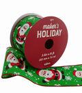 Maker\u0027s Holiday Ribbon 2.5\u0027\u0027x25\u0027-Santa with Snowflakes on Green