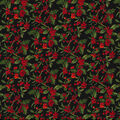 Christmas Cotton Fabric-Glitter Holly Leaves & Berries on Black