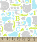 Snuggle Printed Flannel Fabric -Blue, Green & Gray Baby Animals