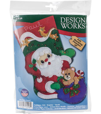 Design Works Crafts 18'' Starlight Santa Stocking Felt Applique Kit