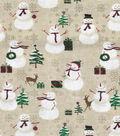 Christmas Cotton Fabric-Lodge Snowmen
