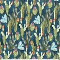 Premium Prints Cotton Fabric-Cacti & Blue Birds