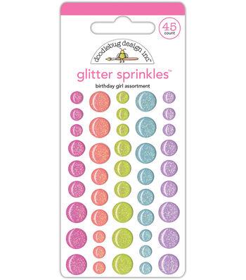 Doodlebug Design 45 pk Assorted Glitter Sprinkles-Birthday Girl
