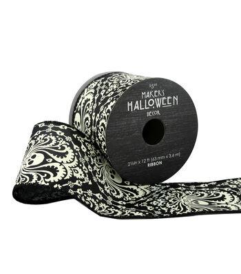 Maker's Halloween Ribbon 2.5''x12'-Paisley Skulls