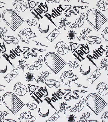 """Harry Potter Flannel Fabric 42""""-Artifacts All-over"""