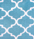 Ultra Fluffy Fleece Fabric -Dusty Teal Quatrefoil